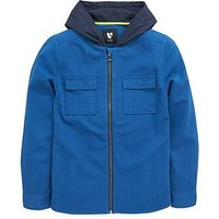 V by Very Boys Zip Through Textured Hooded Shirt, Blue, Size 11-12 Years
