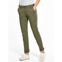 V by Very PETITE Girlfriend Chino Trousers, Khaki, Size 18, Women