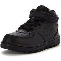 Nike Air Force 1 Mid Infant Trainer, Black/Black, Size 4