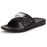 Nike Nike Benassi Just Do It Slider Sandals, Black/White, Size 6, Women