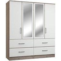 Ashdown 4-Door, 4-Drawer Mirrored Wardrobe