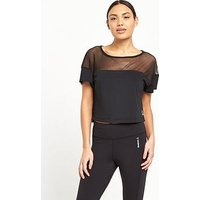 Reebok Cardio Fashion Tee, Black, Size M, Women