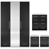 Cologne Gloss 4-Piece Package - 3 Door, 2 Drawer Mirrored Wardrobe, 4 Drawer Chest, 2 Bedside Cabinets (Buy And Save!)