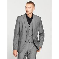 V by Very Tailored Jacket, Grey, Size Chest 44, Length Long, Men