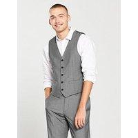 V by Very Slim Waistcoat, Grey, Size Chest 44, Length Regular, Men