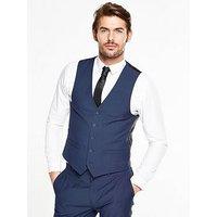 V by Very Slim Waistcoat - Blue, Bright Blue, Size Chest 40, Length Regular, Men