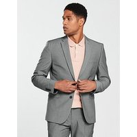V by Very Slim Jacket - Grey, Grey, Size Chest 38, Length Regular, Men