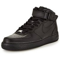 Nike Air Force 1 Mid '07 Leather, Black/Black, Size 10, Men