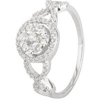 The Love Silver Collection Sterling Silver Cubic Zirconia Cluster Ornate Ring, One Colour, Size L, Women
