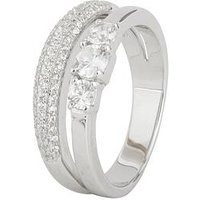 Love SILVER Sterling silver cubic zirconia split band trilogy ring, Silver, Size S, Women