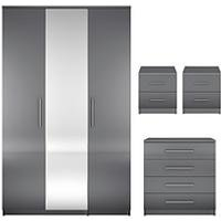 Prague Gloss 4-Piece Package - 3 Door Wardrobe, 4 Drawer Chest And 2 Bedside Cabinets
