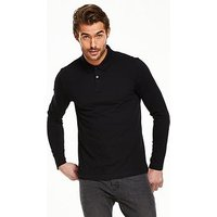 V by Very Long Sleeve Jersey Polo, Black, Size S, Men