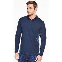 V by Very Long Sleeve Jersey Polo, Navy, Size 2Xl, Men
