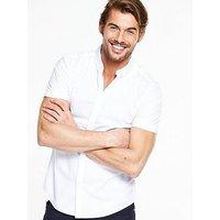 V by Very Short Sleeve Poplin Shirt, White, Size 2Xl, Men