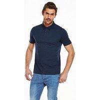 V by Very Short Sleeve Jersey Polo, Blue, Size S, Men