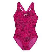 Speedo Speedo Girls Boom Allover Splashback Swimsuit, Pink/Black, Size 6 Years, Women
