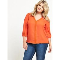 V by Very Curve Curve Lace And Ladder Trim Elasticated Blouse, Orange, Size 20, Women