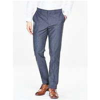 V by Very Chambray Suit Trouser - Blue, Blue, Size 28, Length Short, Men