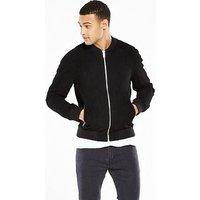 Jack & Jones Premium Bone Suede jacket, Black, Size M, Men