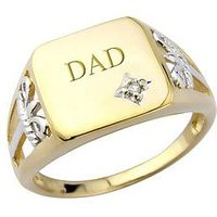 KeepSafe Silver & 9ct Yellow Gold Plate & Diamond Signet Ring, Groom, Size Small, Women