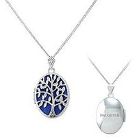 Keepsafe Personalised Sterling Silver Blue Inset Tree Of Life Oval Locket - Niece, Women
