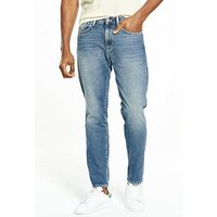 Selected Homme Indigo Fiver Loose Fit Jeans, Mid Blue, Size 32, Inside Leg Short, Men