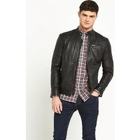 Selected Homme Tylor Leather Jacket, Black, Size L, Men