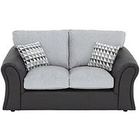 Product photograph showing Linear Fabric And Faux Leather 2 Seater Standard Back Compact Sofa