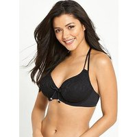 Pour Moi Puerto Rico Halter Triangle Underwired Bikini Top - Black, Black, Size 36E, Women