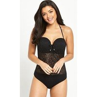 Pour Moi Puerto Rico Padded Underwired Swimsuit - Black, Black, Size 36D, Women