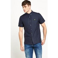 Lyle & Scott Short Sleeve Oxford Shirt, Navy, Size S, Men