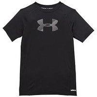 UNDER ARMOUR Boys Short Sleeve Tee, Black/Graphite, Size Xl