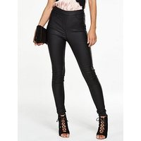 V by Very Charley High Rise Side Zip Jegging, Black Coated, Size 12, Inside Leg Regular, Women