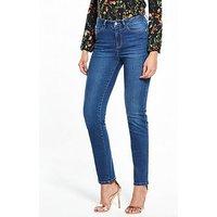 V by Very Isabelle High Rise Slim Leg Jean, Ink, Size 8, Inside Leg Regular, Women