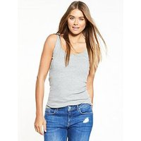 V by Very Ribbed Vest , Grey Marl, Size 24, Women