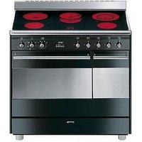 Smeg Suk92Cbl9 90Cm Ceramic Double Oven Electric Concert Range Cooker - Black