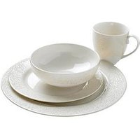 Product photograph showing Monsoon Denby Lucille Gold 16-piece Dinner Set