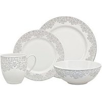 Product photograph showing Monsoon Denby Filigree 16-piece Boxed Dinner Set
