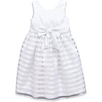 Mini V by Very Girls Organza Stripe Skirt and Large Bow Dress (0-16 Years), White, Size 7-8 Years, Women