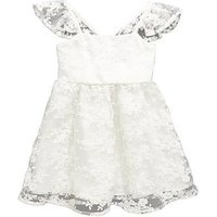 Mini V by Very Toddler Girls Pretty Lace Frill Sleeve Occasion Dress, White/Silver, Size 3-4 Years, Women