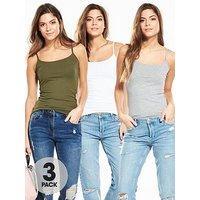 V by Very 3 Pack of Strappy Vest Tops, Khaki/Grey/White, Size 20, Women