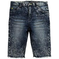 V by Very Boys Marble Wash Raw Hem Denim Shorts, Light Wash, Size Age: 5 Years