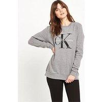 Calvin Klein Branded Sweat Grey, Light Grey Heather, Size L, Women