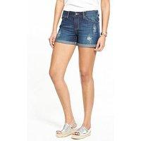 V by Very Blake Rip Denim Short, Light Vintage, Size 22, Inside Leg Regular, Women