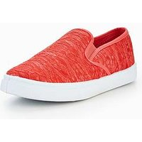 V by Very May Older Girls Lace Detail Plimsoll, Coral, Size 2 Older