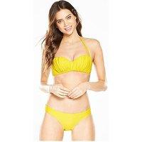 V by Very Essential Bandeau Bikini Set - Yellow, Yellow, Size 12, Women