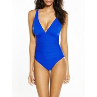 V by Very Controlwear Essentials Plunge Swimsuit - Cobalt Blue, Cobalt Blue, Size 10, Women