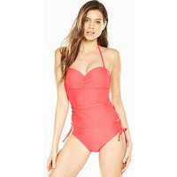 V by Very Mix & Match Ruched Underwired Tankini Top - Coral, Coral, Size 34C, Women