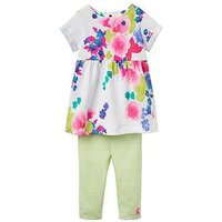 Joules 2 piece Floral Dress Outfit, Multi, Size 0-3 Months, Women