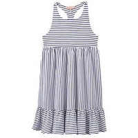 Joules Girls Midi Stripe Dress, Blue Stripe, Size 9-10 Years, Women